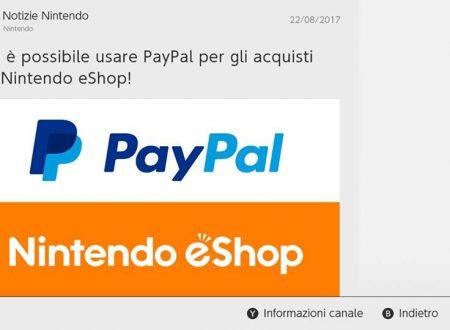 Nintendo eShop: PayPal è da ora utilizzabile per l'acquisto di titoli su Nintendo Switch
