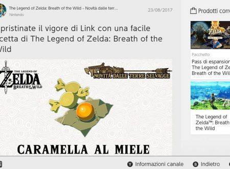 The Legend of Zelda: Breath of the Wild: la ricetta della Caramella al miele, e due unità di miele di ape briosa dal Canale Notizie di Nintendo Switch