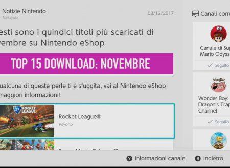 Nintendo eShop: svelata la TOP 15 con i titoli più scaricati di novembre su Nintendo Switch