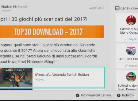 Nintendo Switch: svelati i 30 titoli più venduti del 2017 sul Nintendo eShop europeo