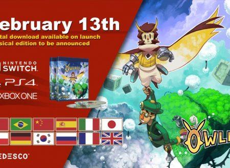 Owlboy: il titolo confermato per l'approdo il prossimo 13 febbraio sull'eShop di Nintendo Switch