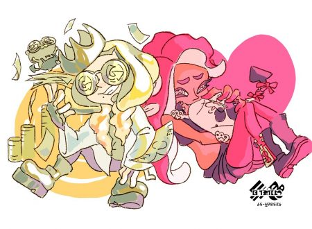Splatoon 2: pubblicato l'artwork ufficiale dello Splatfest americano, Soldi o Amore?