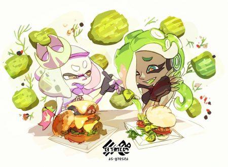 Splatoon 2: pubblicato l'artwork ufficiale dello Splatfest europeo, i cetriolini negli hamburger sono disgustosi o deliziosi?