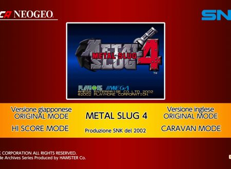 ACA NEOGEO Metal Slug 4, uno sguardo in video al titolo dai Nintendo Switch europei