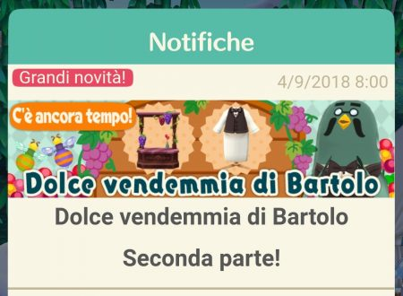 Animal Crossing: Pocket Camp, disponibile la seconda parte dell'evento Dolce vendemmia di Bartolo