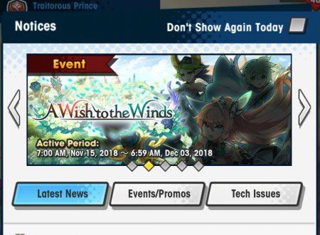 Dragalia Lost: rivelato l'arrivo dell'evento A wish to the Winds, riduzione della stamina per le quest in Elemental Ruins