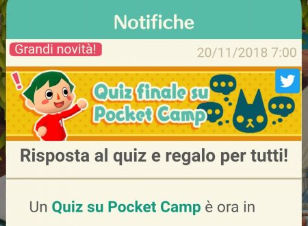 Animal Crossing: Pocket Camp, disponibili i premi dell'ultima domanda del Quiz finale su Twitter