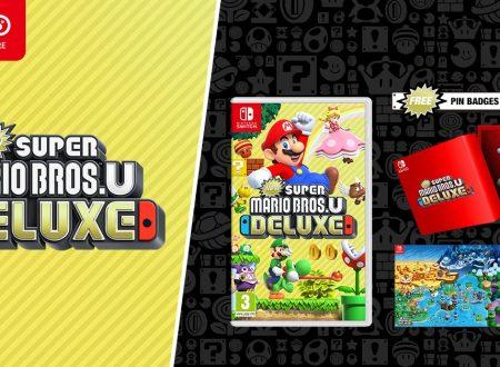 New Super Mario Bros. U Deluxe: il titolo in preorder sul Nintendo UK Store con il poster e delle spille