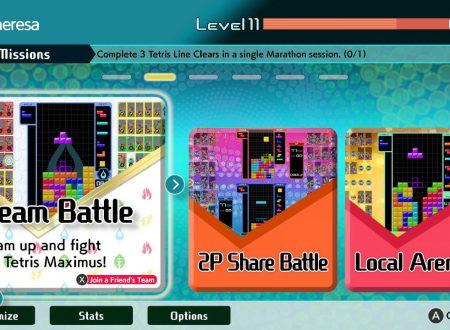 Tetris 99: il titolo aggiornato alla versione 2.1.0 su Nintendo Switch, aggiunta la Team Battle Mode
