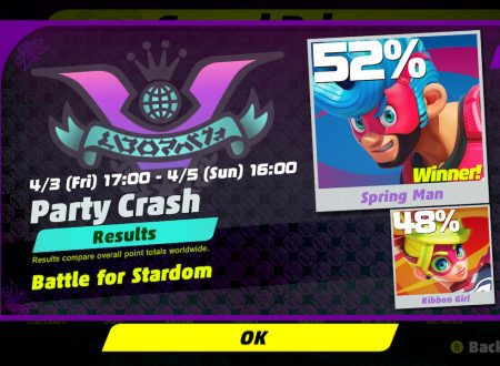 ARMS: svelati i risultati del Party Crash: sfida per la fama, Spring Man vs. Ribbon Girl