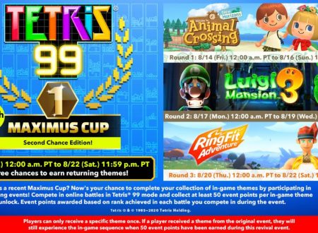 Tetris 99: svelato il sedicesimo Grand Prix con il recupero dei temi di Luigi's Mansion 3, Animal Crossing: New Horizons e Ring Fit Adventure
